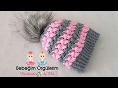 Beautiful Beanie Tutorial - Design Peak Puff Stitch Crochet, Crochet Cap, Crochet Baby Hats, Crochet Stitches, Crochet Bag Tutorials, Crochet Videos, Crochet Crafts, Crochet Afghans, Crochet Beanie Hat Free Pattern