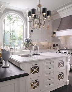 Lovely black and white kitchen.