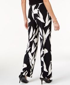 Alfani Printed Wide-Leg Pants, Created for Macy's - Black Medium Short