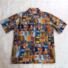 6ae71977 Mens Hilo Hattie Hawaiian Shirt Size Medium VTG Pineapple Ads All Cotton SS