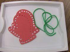 Lacing Mittens Fine Motor Activity from Cachey Mama's Classroom