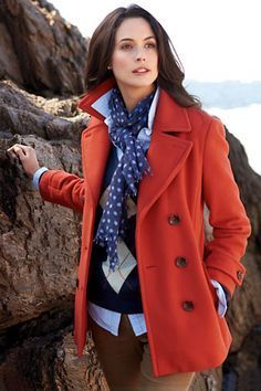 Image result for how to wear a short orange colored pea coat for women