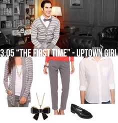 dress like blaine anderson...  Forever 21 Striped Cardigan - $14.06  Forever 21 Cropped Trouser (in Heather Grey) - $22.80  Forever 21 Classic Woven Shirt - $18.90  Forever 21 Lacquered Bow Necklace (in Black/Gold) - $4.80  Merona Meri Penny Loafers - $24.99
