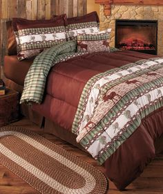 Moose Lodge Comforter Set QUEEN Country Cabin Bedroom Bedding w/Shams Decor 4PC