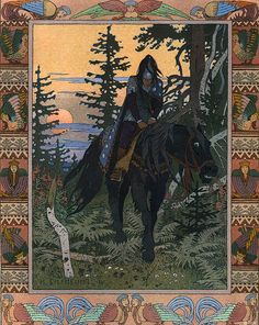 The Rider of Dark Midnight from Vasilisa the Beautiful by Ivan Biblin