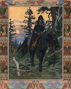The Rider of Dark Midnight from Vasilisa the Beautiful by Ivan Biblin