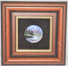 """1.5"""" Diameter Disc Hand Painted Original by Ruth McKindley in 5.25"""" Square Frame"""