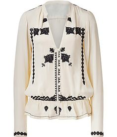 DAY BIRGER ET MIKKELSEN  Cream/Black Seed Pearl Embroidered Blouse