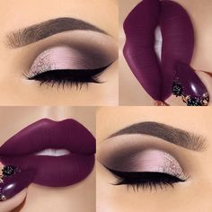 25 Ideas for makeup ideas purple lipstick make up Maquillage Kylie Jenner, Maquillage On Fleek, Cute Makeup, Gorgeous Makeup, Pretty Makeup, Easy Makeup, Flawless Makeup, Skin Makeup, Eyeshadow Makeup