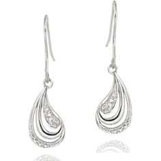 DB Designs Sterling Silver Diamond Accent Wave Design Dangle Earrings ($27) ❤ liked on Polyvore featuring jewelry, earrings, polish jewelry, fake jewelry, sterling silver long earrings, pave jewelry and sterling silver earrings
