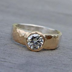 Items similar to Moissanite, Recycled Yellow Gold, and Recycled Palladium Sterling Silver Wedding or Engagement Ring – Matte / Hammered, Made To Order on Etsy - women gold rings Jewelry Rings, Silver Jewelry, Jewellery, Bridal Jewelry, Diamond Jewelry, Silver Earrings, Silver Engagement Rings, Mode Vintage, White Gold Rings