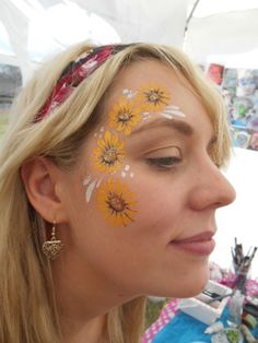 Festival sunflowers eye design face paint face painting
