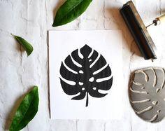 Monstera Leaf Lino Print | Black and White Block Cheese Plant Print | Original Nature Artwork 10 x 8 |