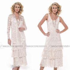 2015 Stunning Mother of the Bride Dress beach mother's dress Sheath/Column Spaghetti strap Lace Tea length Prom Dresses