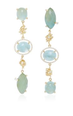 Mo exclusive: one of a kind 18k gold aquamarine and beryl earrings by JORDAN ALEXANDER  for Preorder on Moda Operandi