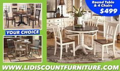 TABLE + 4 CHAIRS ONLY $499 YOUR CHOICE ‪#‎longislanddiscountfurniture‬ ‪#‎furniture‬ ‪#‎diningtable‬ ‪#‎diningroom‬ ‪#‎discount‬ ‪#‎countertable‬ www.longislanddiscountfurniture.com