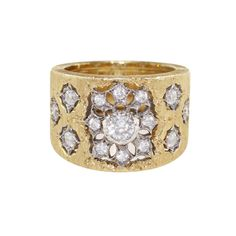 Buccellati Diamond and Gold Band Ring | From a unique collection of vintage band rings at https://www.1stdibs.com/jewelry/rings/band-rings/