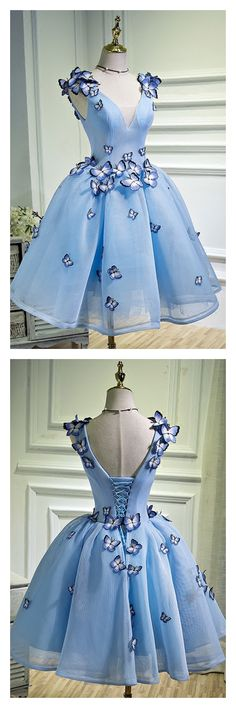 Sky Blue Prom Dress, Party Dress With Butterfly, A Line Prom Dress,V Neck Short Homecoming Dress - Homecoming Dresses Blue Homecoming Dresses, A Line Prom Dresses, Prom Party Dresses, Trendy Dresses, Cute Dresses, Short Dresses, Dress Party, Occasion Dresses, 1950s Dresses