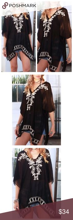 """🆕Coming Soon🆕Floral Embroidered Cover Up/Poncho Floral Embroidered Cover Up/Poncho One size fits most. Color: Black and Ivory 65% Polyester & 35% Viscose 32""""  X 28"""" Swim Coverups"""