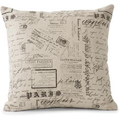 French Country Literary Script Natural Linen Square Pillow ($94) ❤ liked on Polyvore featuring home, home decor, throw pillows, pillows, french country throw pillows, linen throw pillows, french country home decor, patterned throw pillows and square throw pillows
