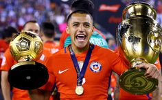 Alexis Sanchez of Chile celebrates the win over Argentina during the Copa America Centenario Championship match at MetLife Stadium on June 2016 in East Rutherford, New Jersey. Get premium, high resolution news photos at Getty Images Copa Centenario, Copa America Centenario, Arsenal Players, Arsenal Fc, Alexis Sanchez, Famous Sports, Winners And Losers, Match Highlights, America's Cup