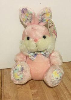 "Vintage Cuddle Wit 1992 Pink Plush 14"" Easter Bunny Rabbit Stuffed Animal NEW #CuddleWit"