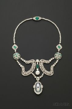 Platinum, pearl, diamond & emerald necklace