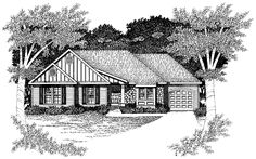 Tudor House Plan with 1303 Square Feet and 2 Bedrooms from Dream Home Source | House Plan Code DHSW40008