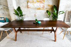 Walnut Live Edge Dining Table Conference table by moderncre8ve