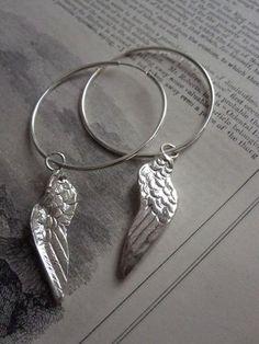CollardManson 925 Silver Wing Hoop Earrings