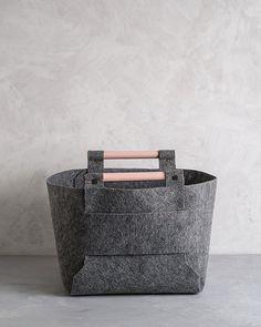 Contenitore di stoccaggio di feltro grandi con legno di pesco gestisce, cestino di feltro, cestello portaoggetti