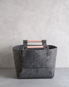 Large Felt Storage Bin with Peach Wood Handles, Felt Basket, Storage Basket by loop design studio