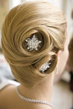 Side swirl wedding bridal hairstyle