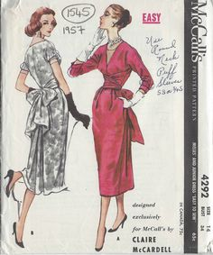 1957 Vintage Sewing Pattern B34 DRESS (1545) By Claire McCardell in Crafts, Sewing, Sewing Patterns | eBay