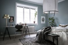 my scandinavian home: A calm Swedish home with a blue bedroom Blue Green Bedrooms, Blue Gray Bedroom, Master Bedroom Design, Bedroom Wall, Bedroom Decor, Scandinavian Bedroom, Scandinavian Apartment, Trendy Bedroom, Grey Walls