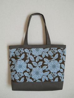 Tote Bag;Blue Flower