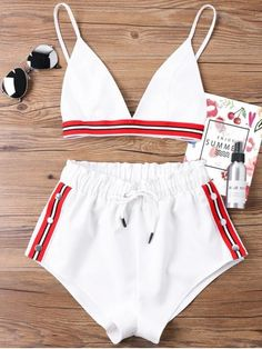 Bra Two Piece Shorts Tracksuit. Shop for trendy fashion style two piece outfits for women online at ZAFUL. Find the newest styles sexy two piece short set, co ords and crop top skirt sets with affordable prices. #zaful #outfits
