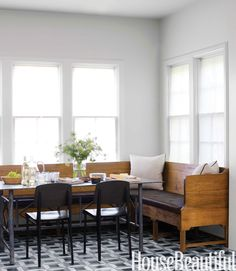 Banquet seating against window