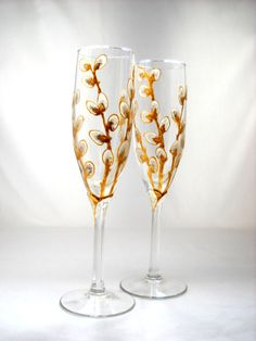 Gold Painted Branches of Pussy Willows on Hand Painted Champagne Glasses, Toasting Flutes