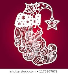 Santa Claus with a star. The template for laser cutting. It is suitable for drawing greeting cards, invitations, decorative elements of the interior. Kirigami, Crochet Christmas Ornaments, Christmas Crafts, Silhouette Curio, Silhouette Cameo Projects, Star Template, Card Templates, Paper Art, Paper Crafts