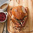 Juniper-Brined Roast Turkey with Chanterelle Mushroom Gravy Recipe at Epicurious.com