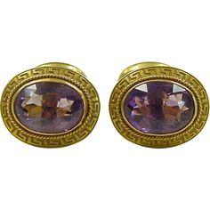 Victorian 14k Gold Gents 6.68 ctw Amethyst Greek Key Cufflinks