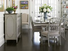 Stanley Furniture Charleston Regency 7-Piece Double Pedestal Dining Table Set in Gray Linen - Formal Dining Sets - Dining Sets by Dining Rooms Outlet