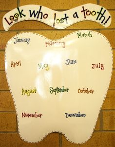 Lost Tooth Chart For Classroom Tooth chart for the classroom. Classroom Birthday, 2nd Grade Classroom, Classroom Walls, Classroom Posters, Kindergarten Classroom, School Classroom, Classroom Routines, School Posters, School Displays