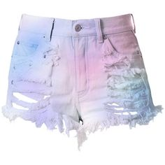 Pastel High Waisted Denim Shorts - Destroyed Cotton Candy (€52) ❤ liked on Polyvore featuring shorts, bottoms, pants, short, high rise denim shorts, high waisted shorts, high-waisted denim shorts, short shorts and denim shorts