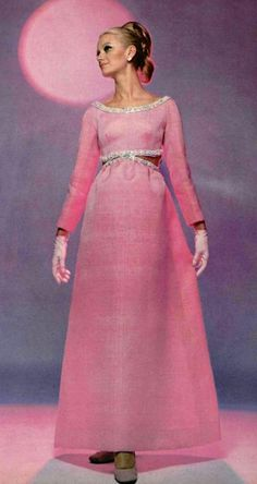 Pink evening gown by Balenciaga, 1968
