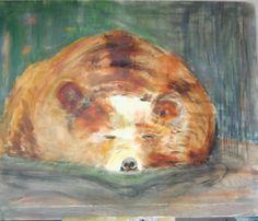 Loes Cats/ The Bear is Sleeping Acryl on canvas 100x120