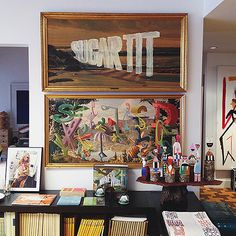 Wayne White artwork in Todd Oldham's studio