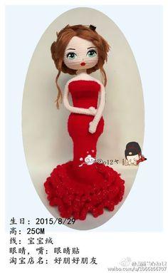 微博 Crochet Doll Pattern, Crochet Toys Patterns, Stuffed Toys Patterns, Crochet Dolls, Doll Patterns, Cute Crochet, Knit Crochet, Doll Hair, Amigurumi Doll