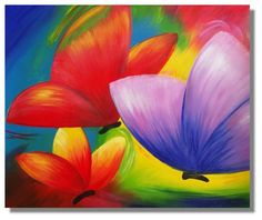 Art Paintings Colorful Mixed color Butterflys on canvas